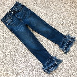 Zara Cropped Layered Fringe Hem High Rise Jeans